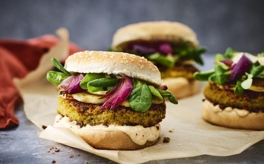 Hamburger, burger, butternut, pompoen, broodje, healthy, powerfood, fastfood, spar.be