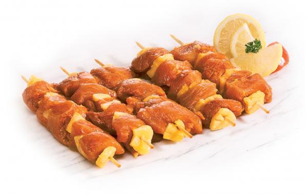 brochettes, sate, gevogelte, kip, kalkoen, tropical, gemarineerd, bbq, barbecue, spar.be