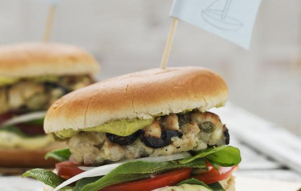 fishburger, bbq, homemade burger, Vis, Comfort food, Hamburger, spar.be