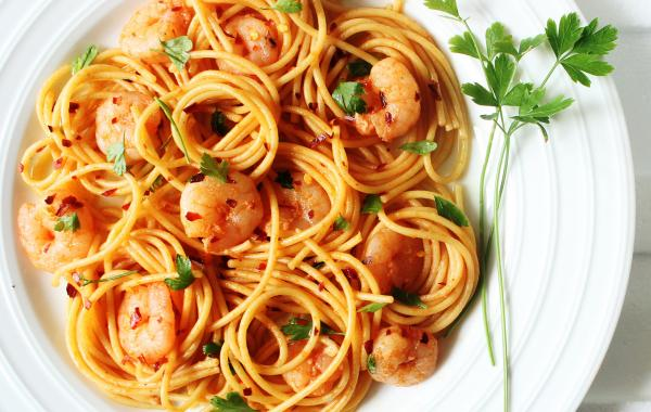 spaghetti, scampi's, sambal, peterselie, spar.be