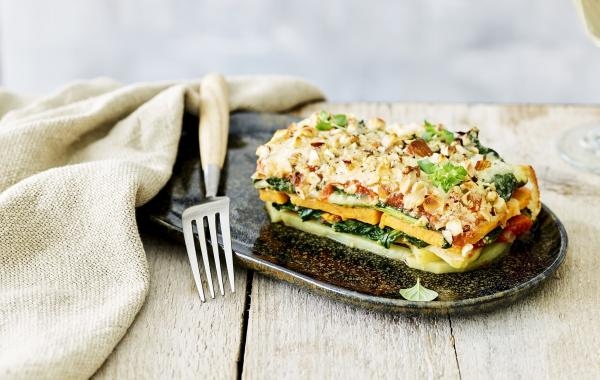 aardappel, lasagne, noten, courgette, spinazie, oregano, spar.be