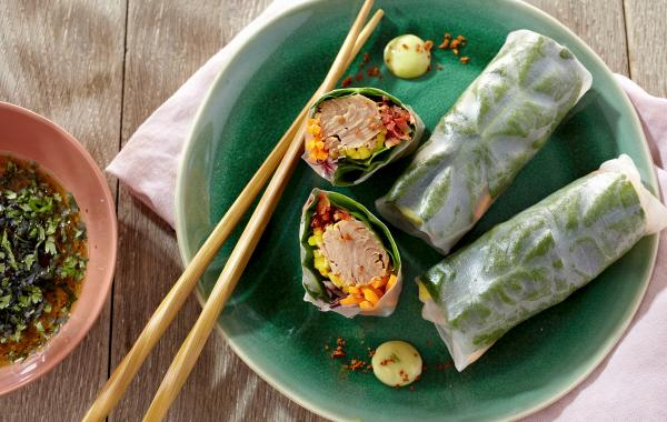 Lente, tonijn, vis, spring rolls, voorgerecht, oosters, powerfood, healthy, spar.be