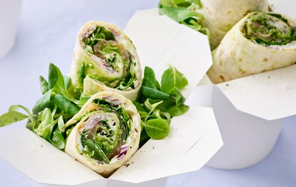 Wraps, lunch, vis, gerookte zalm, pesto, italiaans, waterkers, powerfood, lunchidea, spar;be