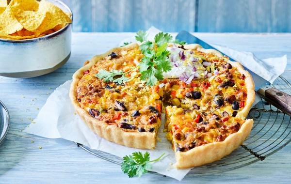 quiche, tex-mex, Mexicaans, Mexicaanse quich, kidneybonen, gehakt, kaas, zure room, ovengerecht, lunch, spar.be